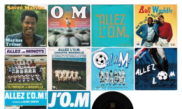 45 tours à propos de l'OM collectionnés par un féru de vinyles football